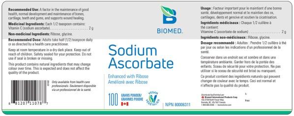 Yum Naturals Emporium - Bringing the Wisdom of Nature to Life - Biomed Sodium Ascorbate Label