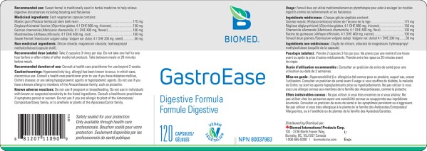 Yum Naturals Emporium - Bringing the Wisdom of Nature to Life - Biomed GastroEase Label