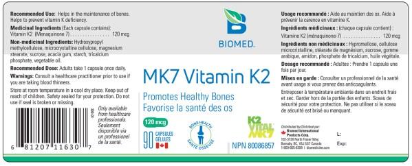 Yum Naturals Emporium - Bringing the Wisdom of Nature to Life - Biomed MK7 Vitamin K2 Label