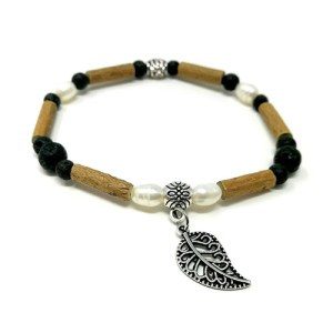 YumNaturals Emporium - Bringing the Wisdom of Mother Nature to Life - Hazelwood Lava Stone Diffuser Freshwater Pearl Single Bracelet Leaf Bead 1