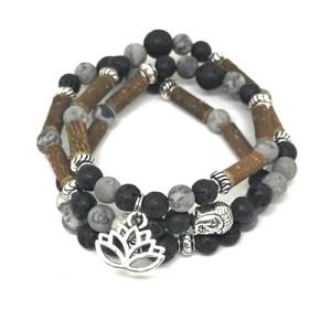 YumNaturals Emporium - Bringing the Wisdom of Mother Nature to Life - Hazelwood Lava Stone Diffuser Picasso Jasper 2-in-1 Bracelet Lotus Charm 1