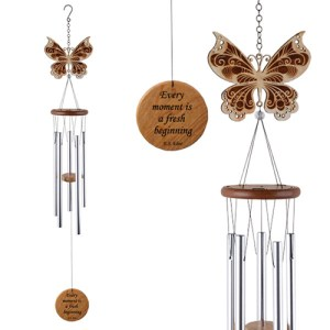 Yum Naturals Emporium - Bringing the Wisdom of Nature to Life - Laser Cut Wood Wind Chime Butterfly