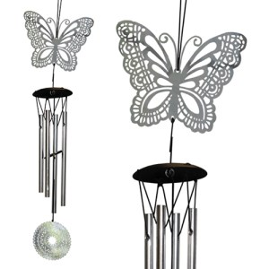 Yum Naturals Emporium - Bringing the Wisdom of Nature to Life - Mandala Wind Chime Silver Butterfly