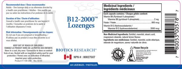 YumNaturals Emporium - Bringing the Wisdom of Nature to Life - Biotics Research B12-2000 Label