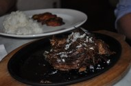 Cuban Style Steak with White Rice and Sweet Plantains