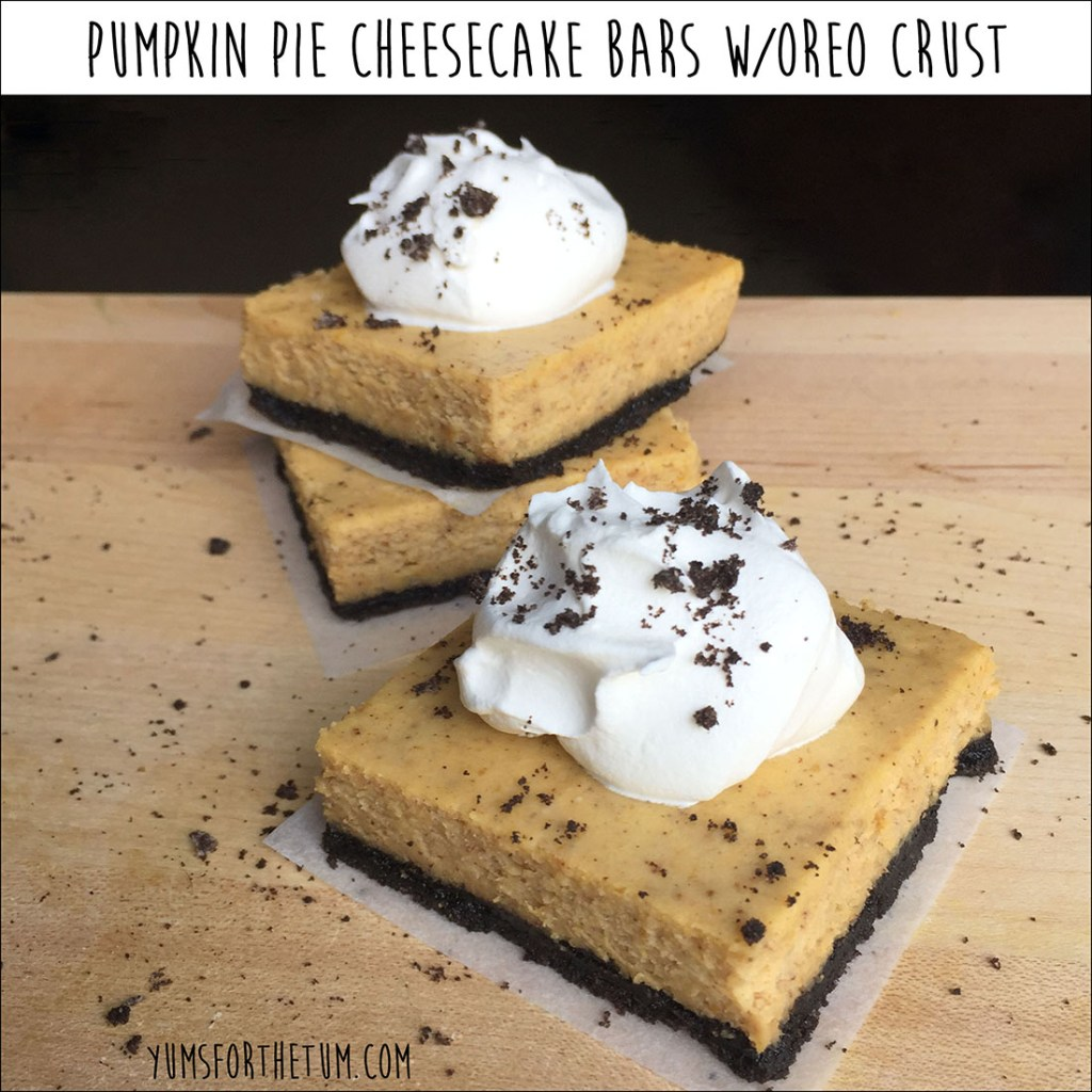Pumpkin Pie Cheesecake Bars w/Oreo Crust