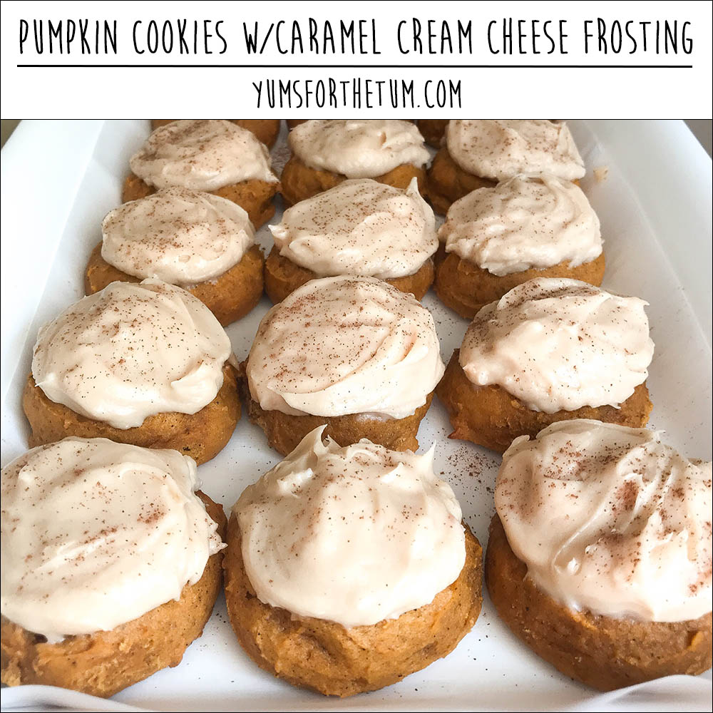 Pumpkin Cookies w/Caramel Cream Cheese Frosting