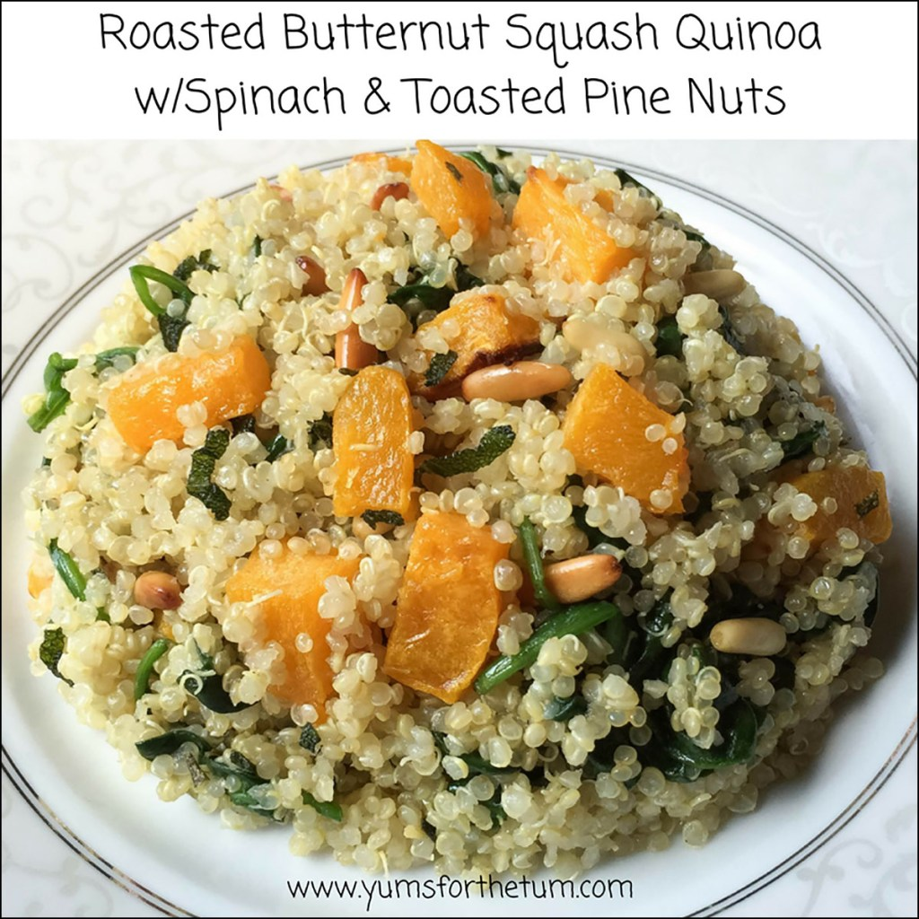 Roasted Butternut Squash Quinoa w/Spinach & Toasted Pine Nuts