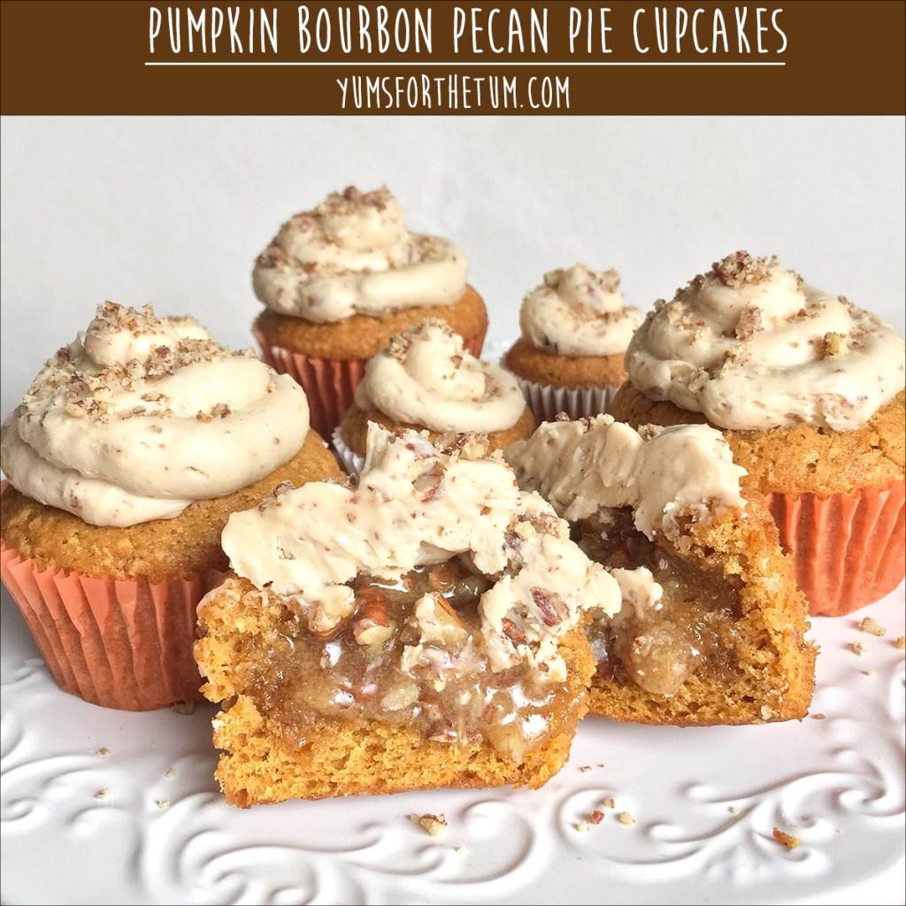 Pumpkin Bourbon Pecan Pie Cupcakes