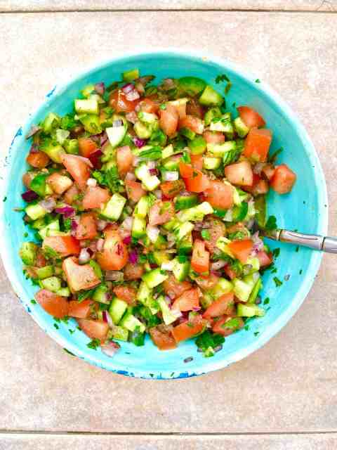 Israeli Salad (Jerusalem Salad) is a delicious recipe using parsley.
