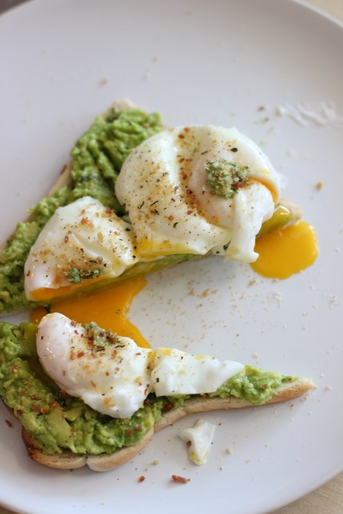 Wild garlic pesto toast, smashed lime-avocado & poached egg