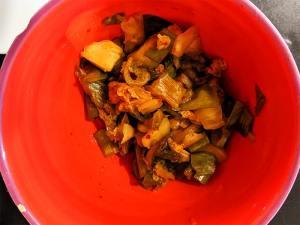 Recette albap étape 1 couper le kimchi