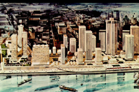 Colour rendering of Vancouver's unrealized Project 200 (uncovered by Bob Ripponat the Vancouver Planning Department),