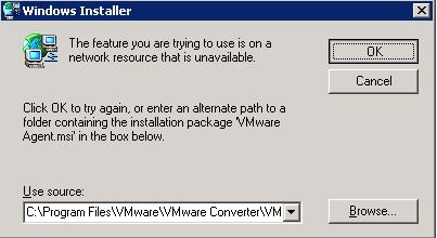 VMware vCenter Converter Standalone error 1603 'Unable to complete vCenter Converter Agent installation' while trying to p2v + fix (5/6)