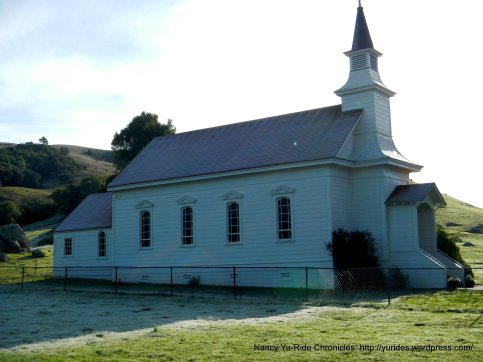 Nicasio-St Mary's Church with frosty grass in the shade
