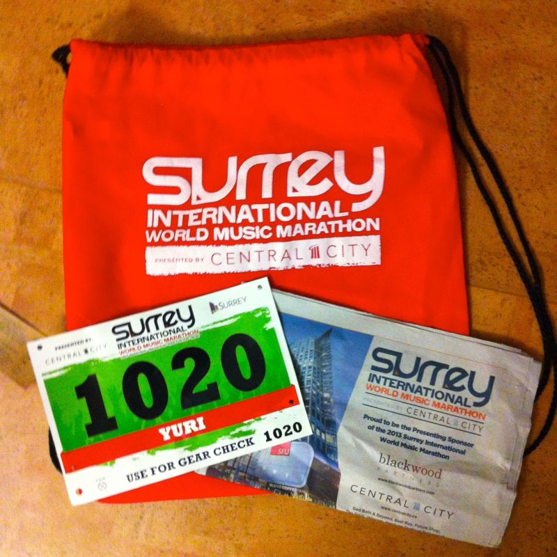 Surrey International World Music Marathon 2013 Bib