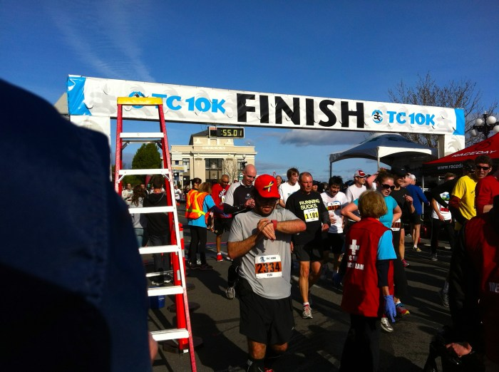 Yuri a the finish line of the TC 10K in Victoria BC.