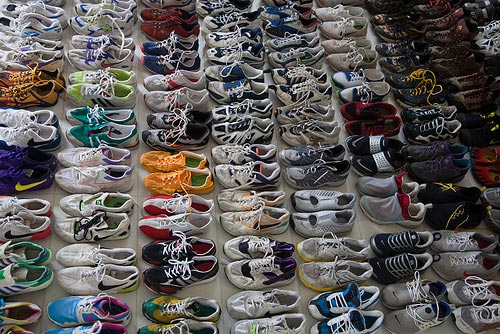 a lot of running shoes