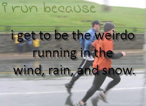 weirdos running in the rain
