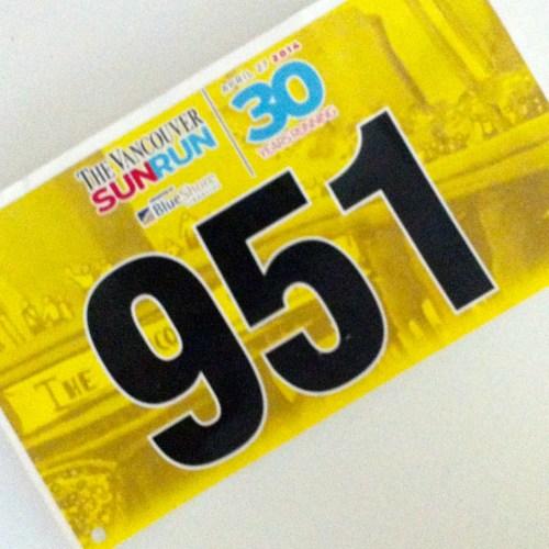2014 Vancouver Sun Run Bib