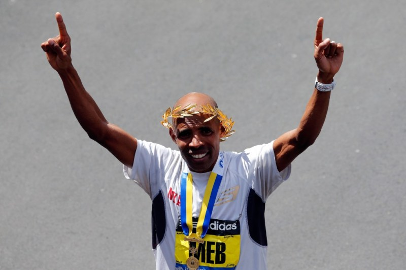 Meb Keflezighi wins the 118th Boston Marathon