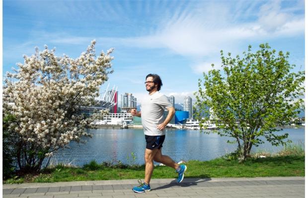 Yuri Artibise enjoys a sunny run along the Vancouver seawall,
