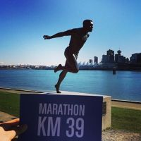 Harry Jerome Statue at 39KM mark of the BMO Vancouver Marathon