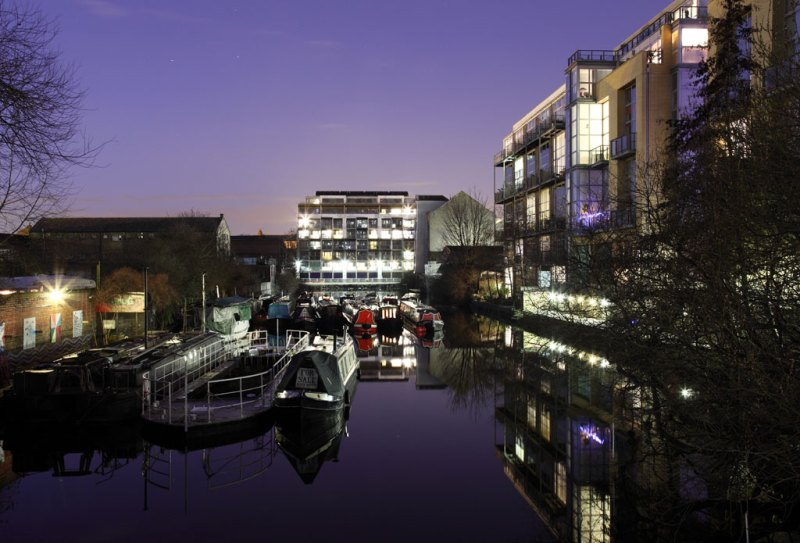 Photo at night of Indigo from canal