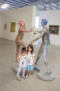 Kids were excited to be amongst sculptures and paintings