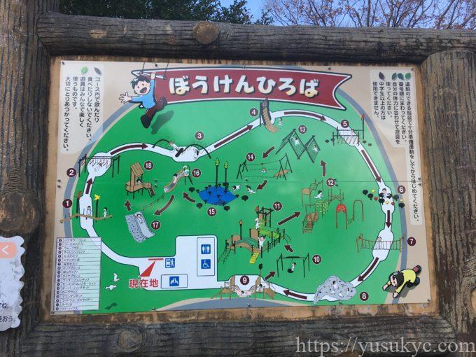 岐阜県こどもの国ぼうけんひろば遊具マップ