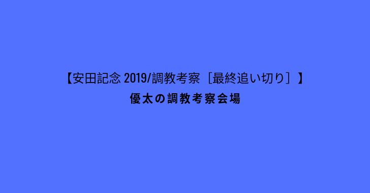 【安田記念 2019/調教考察[最終追い切り]】