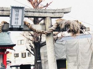 胡録神社の鳥居の龍