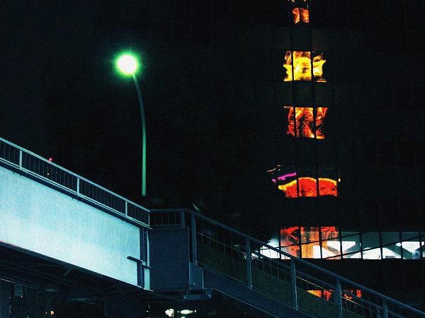 歩道橋と電灯とビルに映る東京タワー