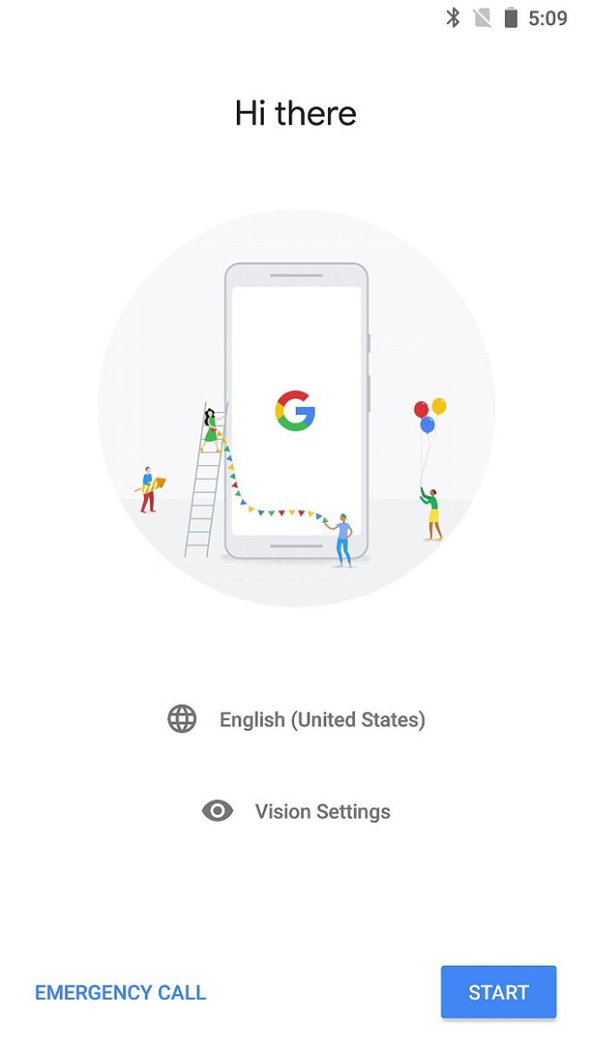 Pixel2の初期セットアップ画面