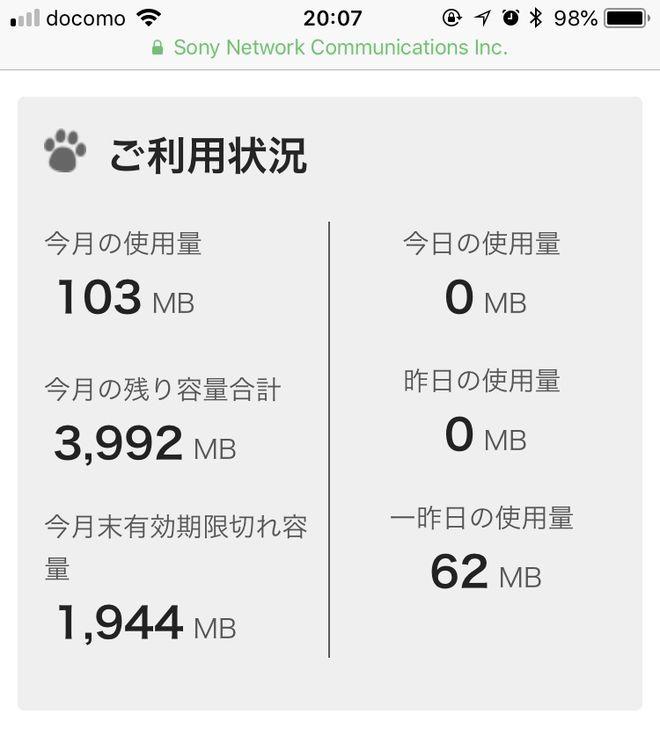 nuroモバイル5月分のデータ通信量