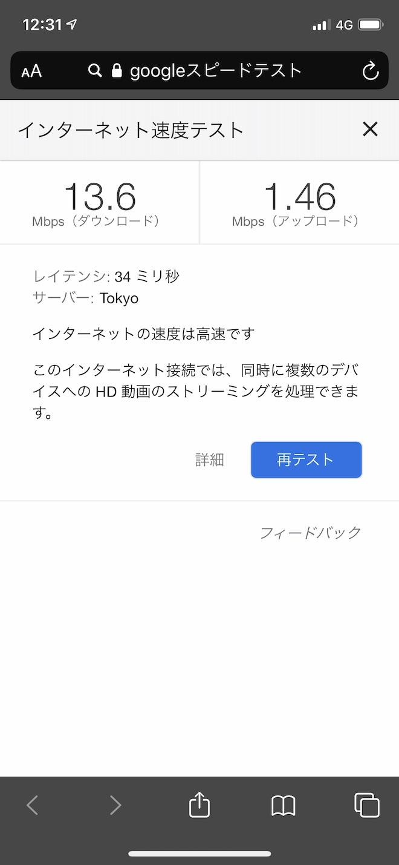 UQ mobile高速モードでの速度