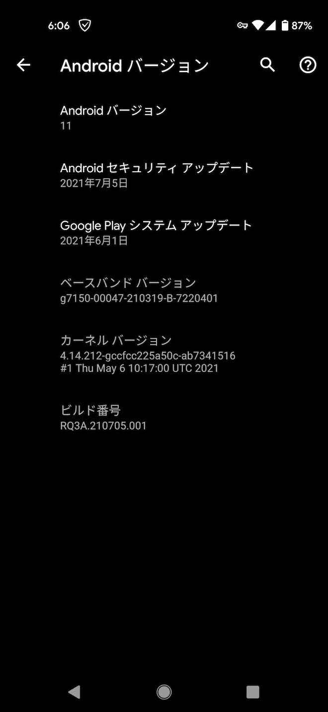 Pixel4aアップデート後の端末情報