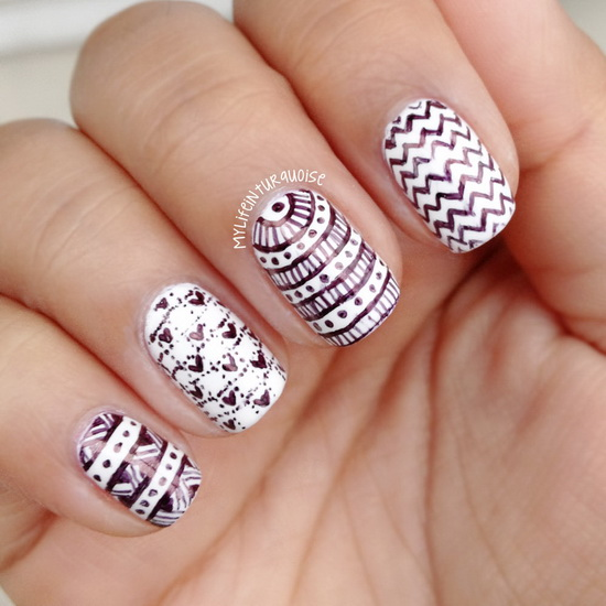 Black And White Water Drops Effect Nail Art