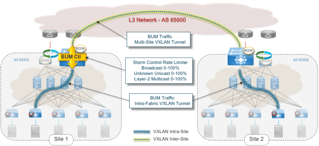 Figure 4: VXLAN EVPN Multi-Site and Broadcast Storm control (BUM Control)