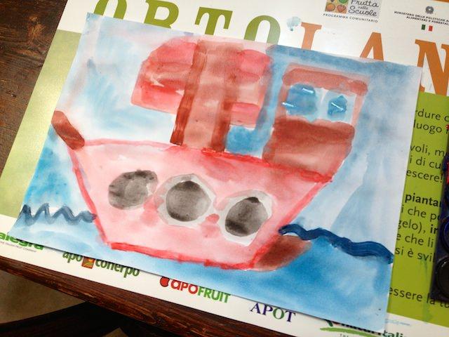 Yves ha disegnato una nave da pirata