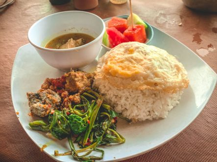 A delicious Nasi Campur for lunch