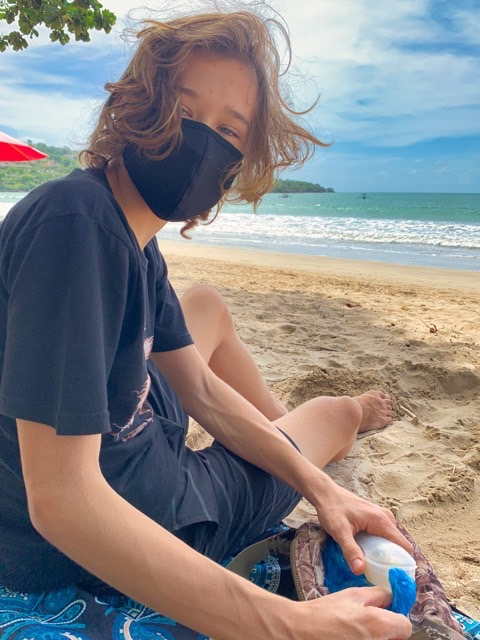 When I'm on the beach, I wear my mask.