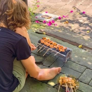 Yves is grilling Shrimp Sate Sticks