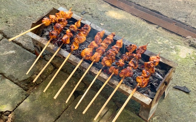 Our chicken sate sticks are almost ready to eat
