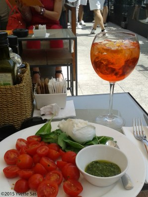 More Aperol Spritz on the roof top terrace opposite the Duomo in Milano