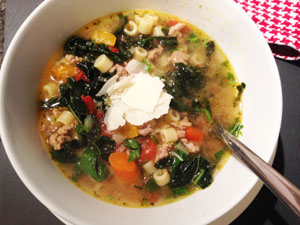 Tuscan Kale soup in bowl photoshop