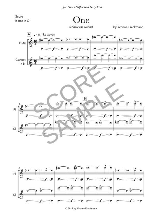 """Score sample of """"One"""" for flute and clarinet"""