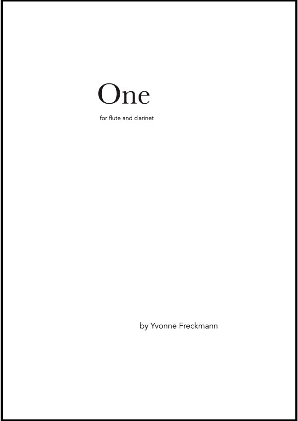 """Score cover of """"One"""" by Yvonne Freckmann"""
