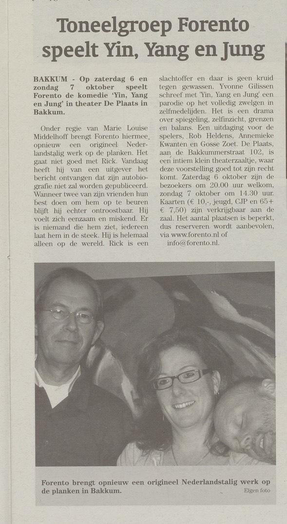 Krantenartikel Yin Yang & Jung van Yvonne Gillissen.
