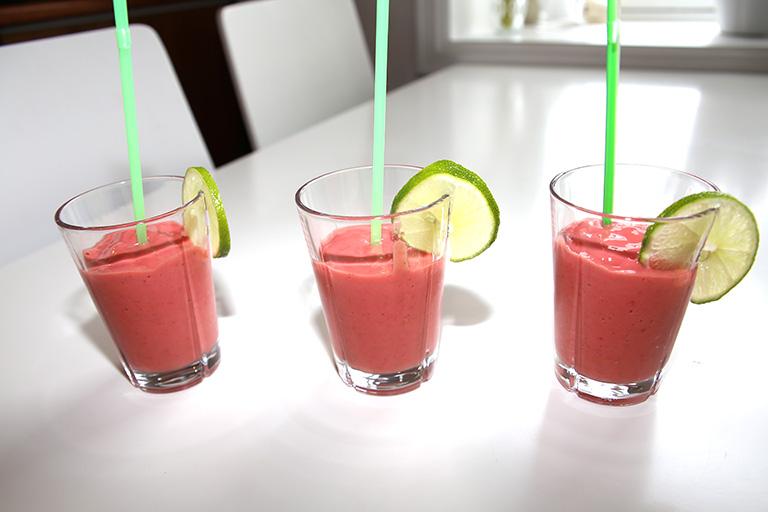 Tre smoothie-glass.